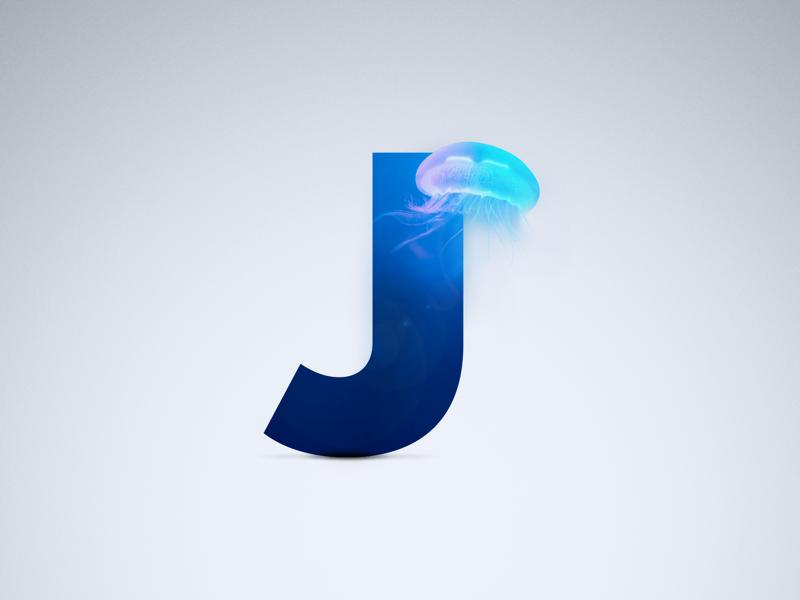 J - Jellyfish proxima nova shadow ocean sea blue j jellyfish letter