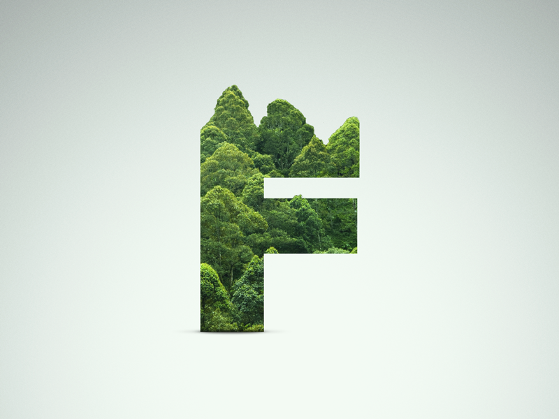 F - Forest proxima nova shadow leaf photoshop tree letter green forest f