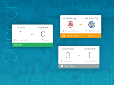 Soccer Cards flat material design material manchester ui card results fixture premier league arsenal cards