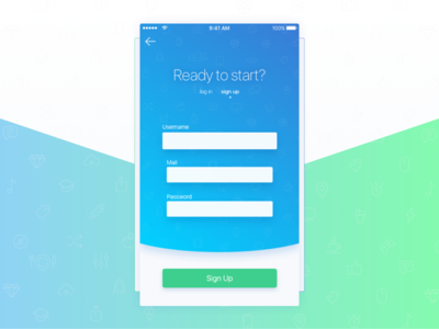 Daily UI - 001 - Sign Up 001 screen iphone sign up log in form daily daily ui