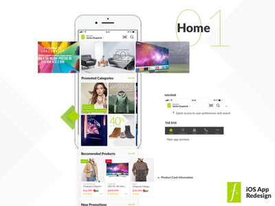 Home Section slider feed home iphone android ios 11 falabella redesign app ux ios