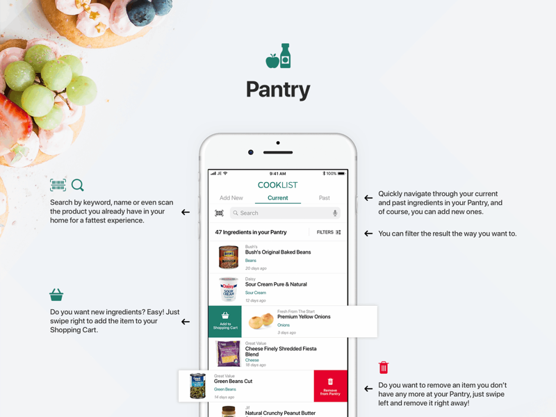 Cooklist - Pantry ios ux app pantry cooklist ios 11 iphone swipe feed recipes food