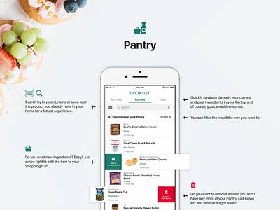 Cooklist - Pantry ios ux app pantry cooklist ios 11 iphone swipe feed recipes food
