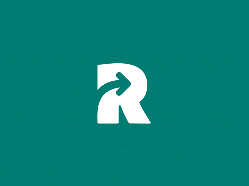 Rendalo Logo rental rent moving r arrow branding design ecommerce green branding logo rendalo