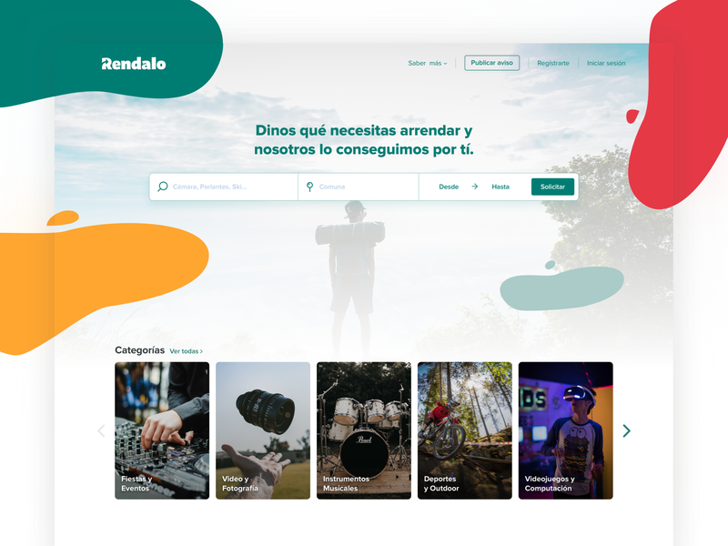 Rendalo Update landing page categories ecommerce rent web homepage vibe color logo rendalo