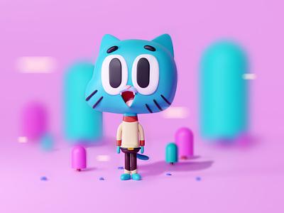 3D Gumball with Blender blendermodeling cartoonnetwork cat 3dillustration gumball modeling blender3d blender 3d