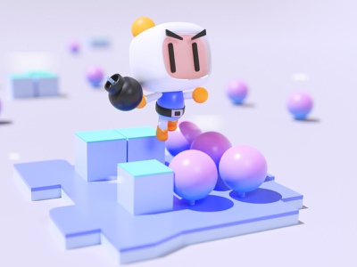 Bomberman 3D characterdesign 90s madebyevelynr arcade videogame bomberman blender blender3d 3d