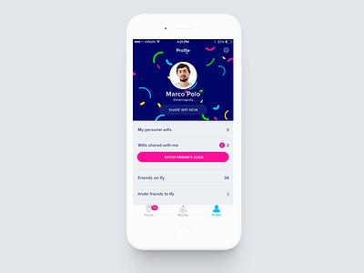 Profile app screen personal invite friends red colors connection internet share wifi profile