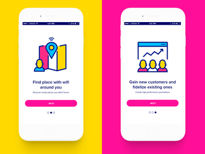 Onboarding illustrations onboarding location business analytics wifi share internet connection colors red friends customers