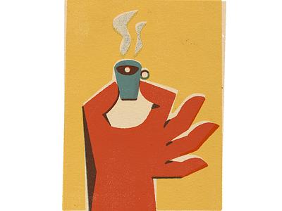 Cafezingo linocut texture old vintage poster illustration print coffee