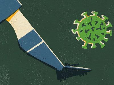 Futebol 2020 poster 2020 flat graphic color limited editorial vintage retro texture conceptual illustration virus soccer