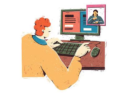 Sorria - Inclusão digital editorial illustration texture sign language accessibility computer digital illustration digital