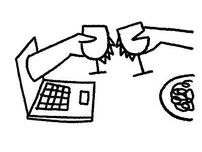 Social distance black  white line draw 2d procreate editorial digital illustration