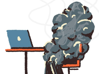 Burnout burnout business office work spot smooth character procreate editorial digital illustration