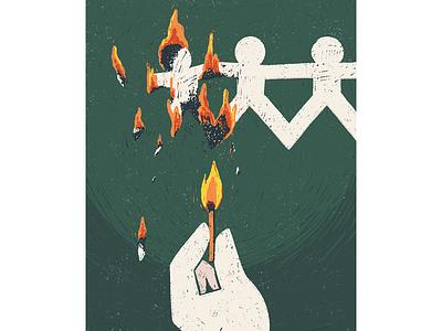 Crimes e castigos conceptual illustration conceptual match fire book print flat texture editorial illustration