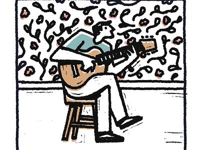 Procreate study - guitar digital editorial character flat procreate texture illustration guitar