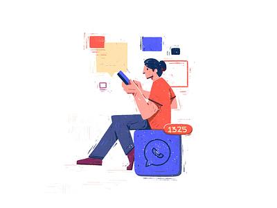 Notifications pixel notification character digital 2d procreate flat graphic editorial texture illustration