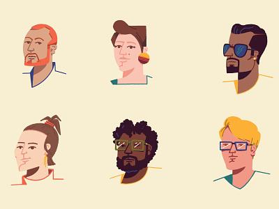 Random people minimal character portrait flat illustration