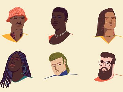 Random People II portrait graphic flat illustration