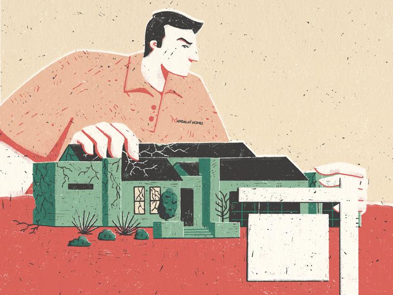 Phoenix New Times procreate linocut print texture editorial illustration cover