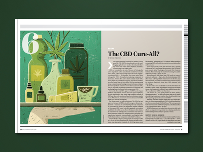 The CBD Cure-All? green print texture cdb illustration magazine