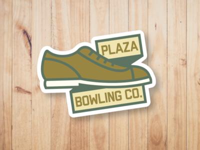 Plaza Bowling Co. - Shoe Sticker brand bowling alley gold green plaza shoes bowling pin bowling ball bowling design sticker yeg alberta edmonton
