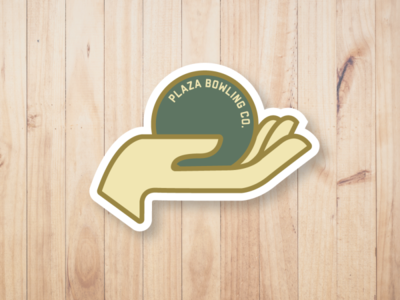 Plaza Bowling Co. - Hand Sticker brand brand identity 5-pin bowling bowl rolling roll hand gold green sticker design yeg alberta edmonton