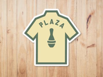 Plaza Bowling Co. - Shirt Sticker 5-pin logodesign logo icon pin bowling shirt bowl shirt design bowling gold green yeg sticker alberta edmonton