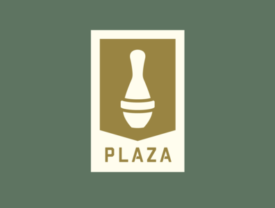 Plaza Bowling Co. - Patch plaza bowling co plaza bowl plaza alley bowling pin pin 5-pin brand identity branding brand patch logo gold green bowling design yeg alberta edmonton