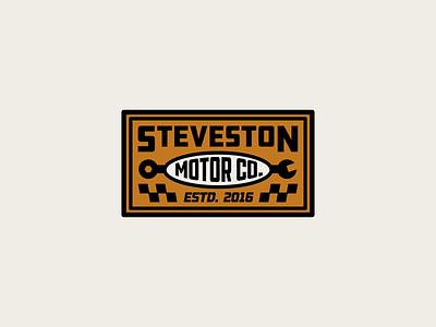 Motor Co. Branding wrench tools classic cars car motorsport motor racing mechanic garage badge brand identity branding logo canada brand design sticker yeg alberta edmonton