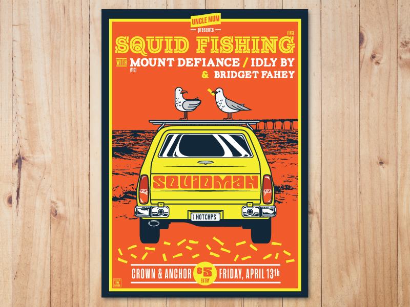 Gig Poster - Squid Fishing band yellow orange seagulls chips beach van sandman fishing gig poster poster gig