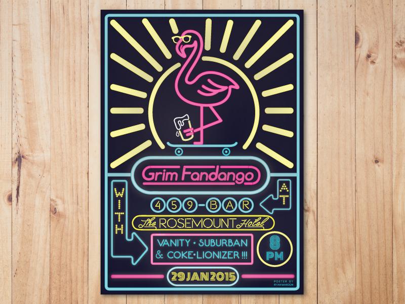 Gig Poster - Grim Fandango skateboard flamingo neon grim fandango band poster gig gig poster