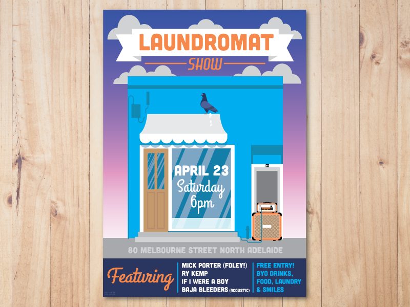 Gig Poster - Laundromat Show melbourne street adeliade orange pigeon laundromat laundry gig poster poster gig