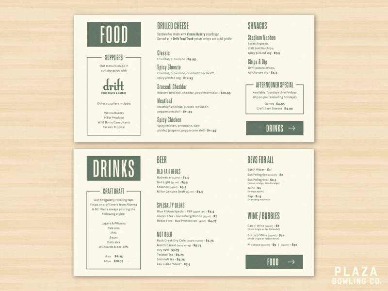 Plaza Bowling Co  Menu by Ryan Mardon on Dribbble