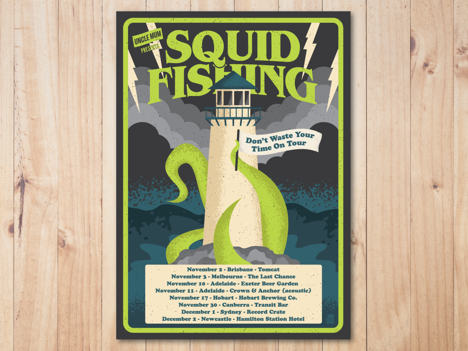 Gig poster squid tour 4x