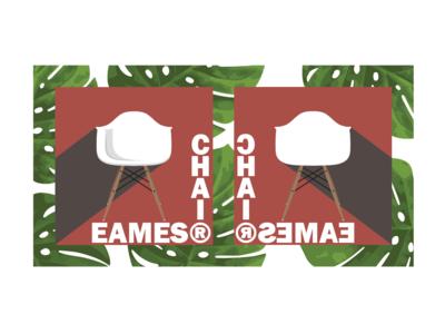Eames Shell + Monstera Pattern