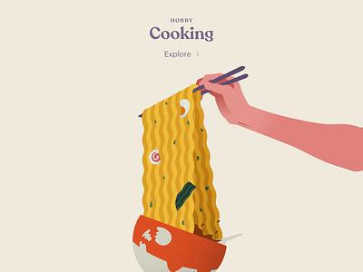 Cooking yum chopsticks portfolio illustration cooking ramen