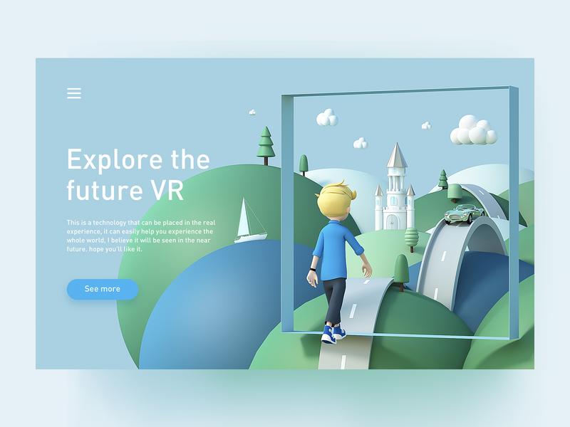 Future VR ui web 3d green future vr