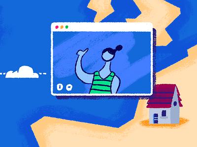 Remote Work cloud illustration