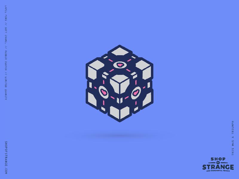 Companion Cube glados valve love cube portal video games shop of strange pin lapel pin gaming enamel pin