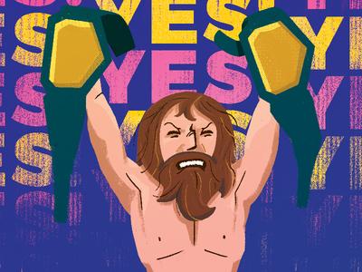 Yes! the yes movement yes wwf wwe wrestling wrestlemania illustration bryan danielson daniel bryan
