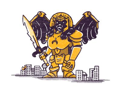 Goldar monster mighty morphin illustration sentai power rangers friends of angel grove