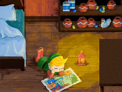 Link's House map chicken house zelda link nintendo illustration