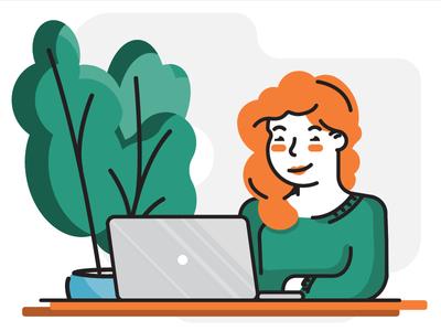 Portrait woman plant laptop red girl portrait spiceworks