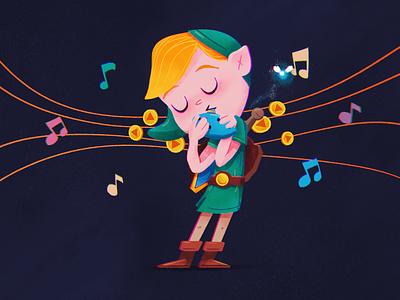 Zelda's Lullaby feedbackplease illustration childrens book kids book ocarina zelda nintendo