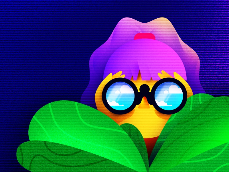 Searching girl person jungle binoculars illustration