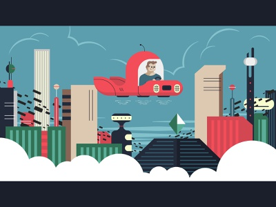 Space City clouds flying car future skyline city person illustration