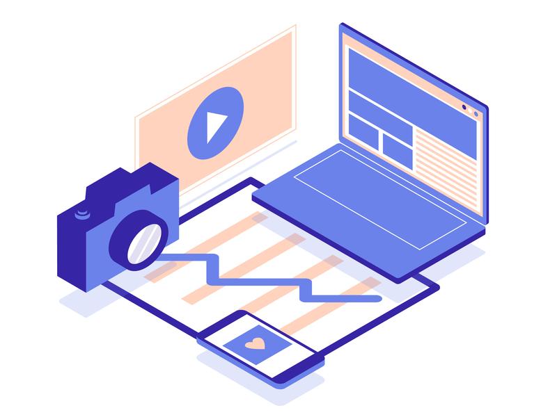 Digital Media Packages vector isometric marketing digitalmedia design illustration
