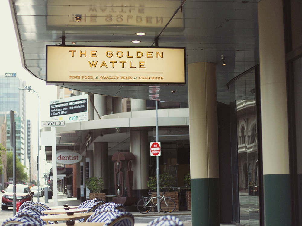 The Golden Wattle Signage pub identity design graphc lightbox signage branding