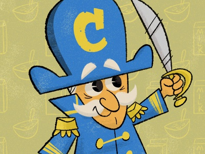 Captain Crunch mascot captain crunch captaincrunch cereal procreate retro illustration